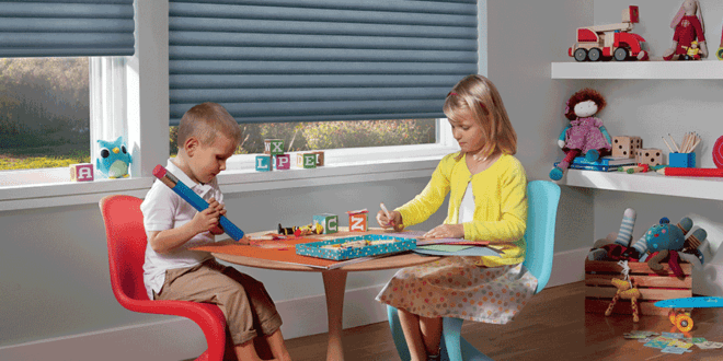 child safe window treatments and cordless blinds in playroom Houston TX