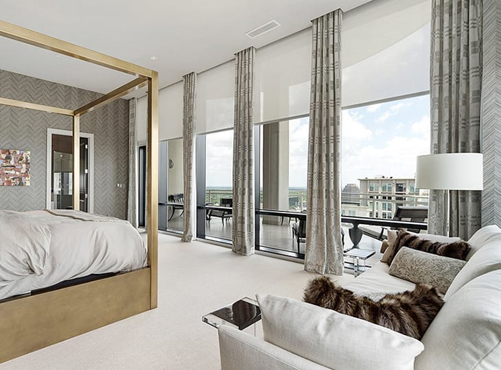 designer roller shades bedroom
