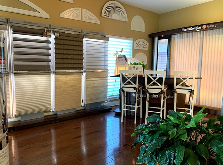 Woodlands Texas Creative Blinds Showroom displahy