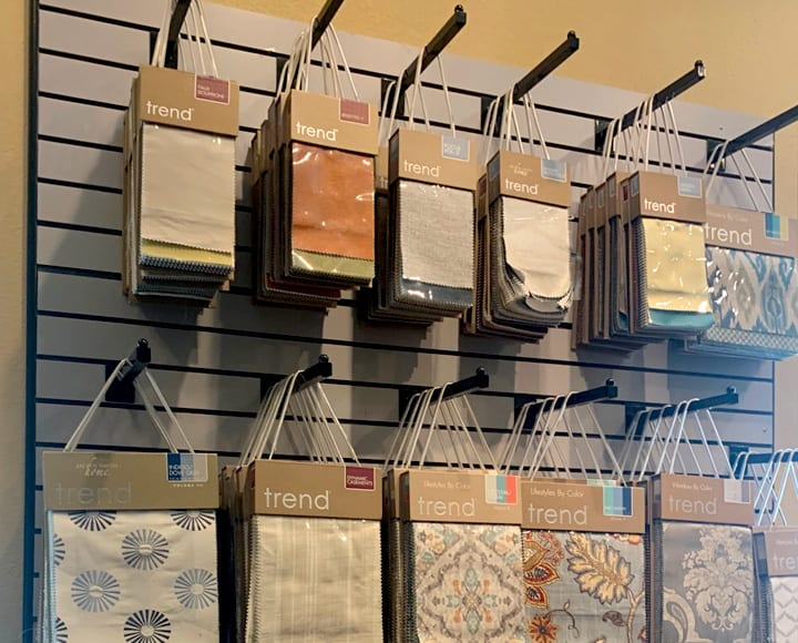 fabric swatches on display for custom window treatments Houston TX