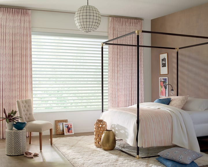 full drapery window treatments with sheer shades Houston TX