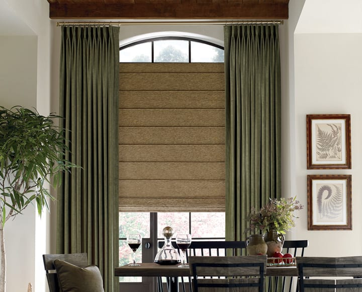 custom drapery with fabric roman shades Houston TX