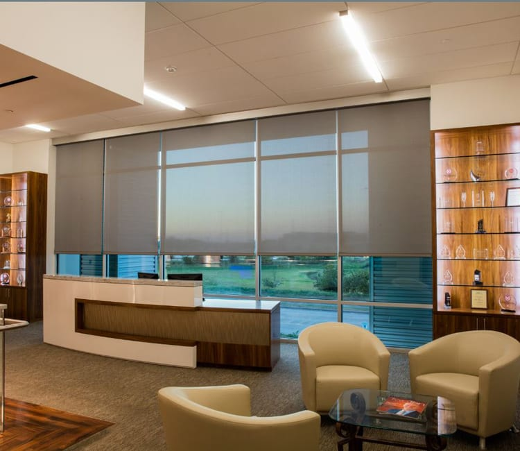 lobby with floor to ceiling window roller shades in Friendswood TX
