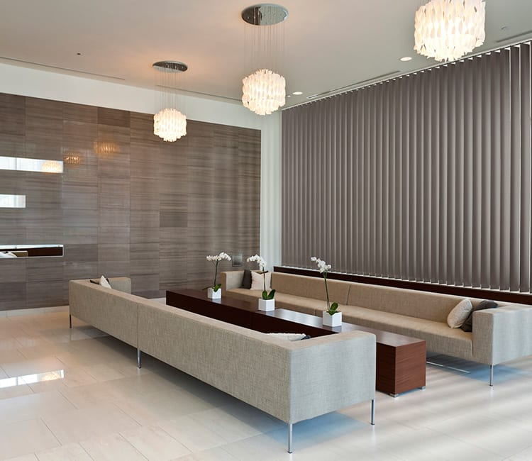 lobby of commercial building with vertical blinds in Houston TX