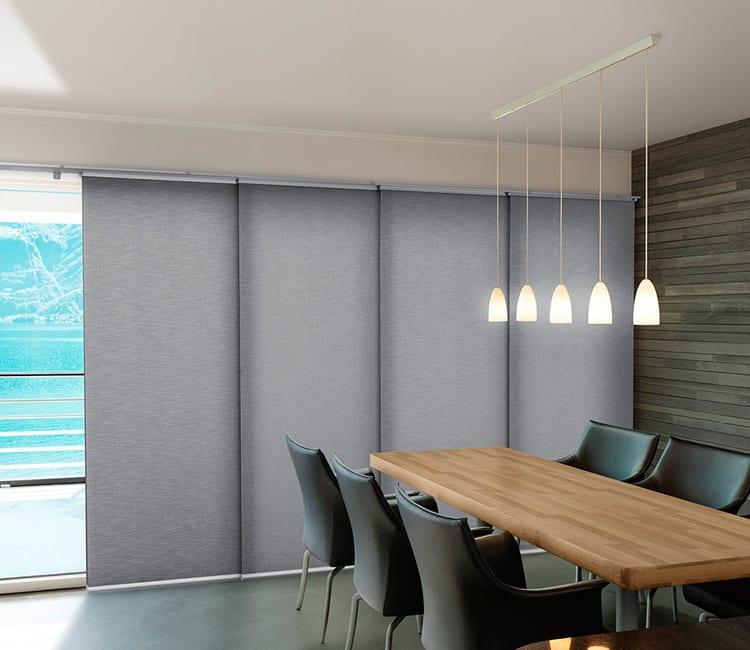 wide gray sliding door window coverings in Friendswood TX