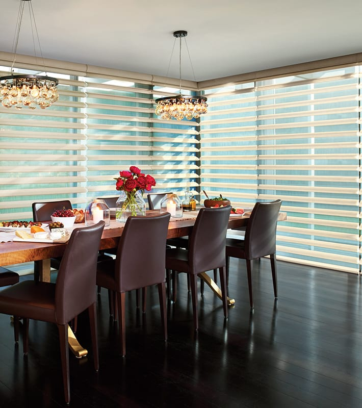 dining room floor to ceiling blinds