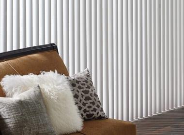 white vertical blinds on floor to ceiling windows in Houston TX