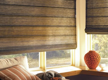 dark brown textured roller shades in Magnolia TX living room