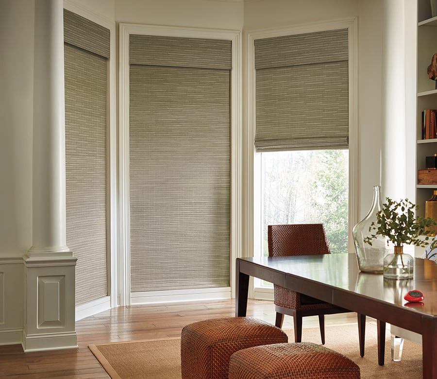 Hunter douglas gray woven wood shades Houston TX