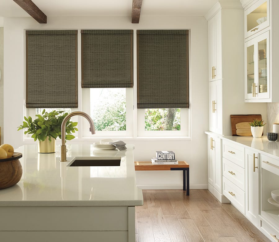 kitchen room darkening dark gray woven wood shades Houston TX