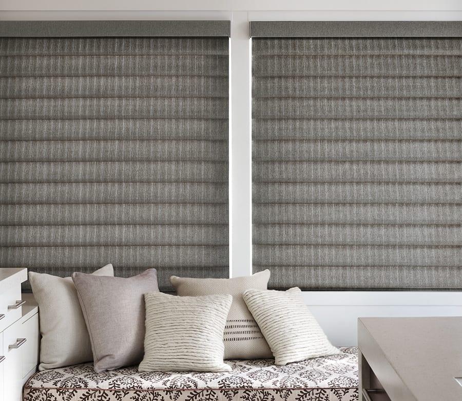 guest bedroom gray roman shades houston tx