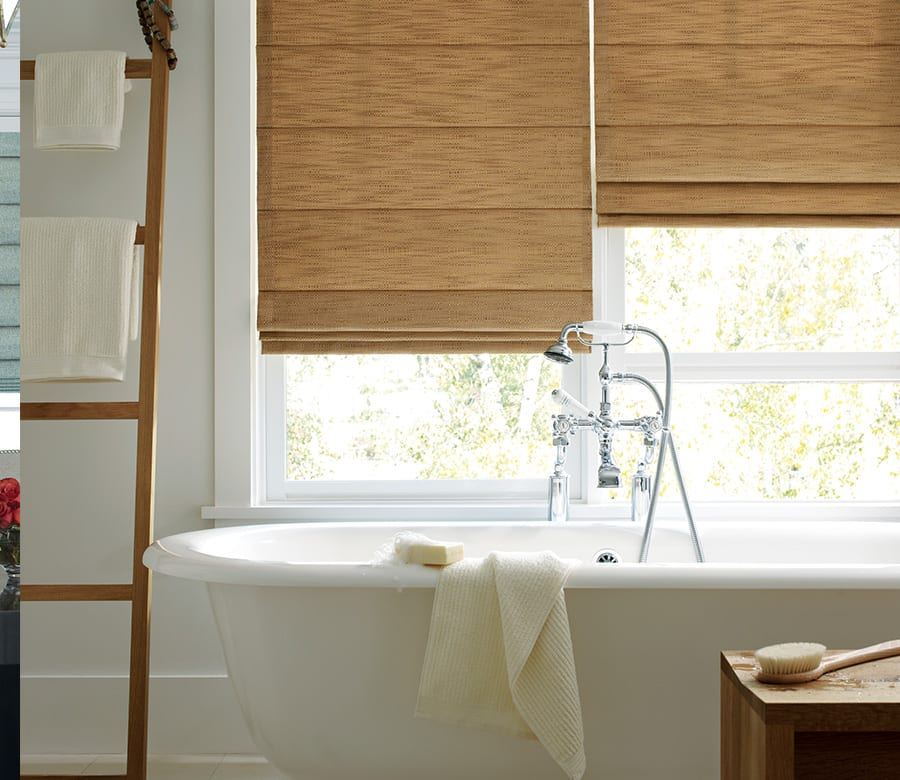 bathroom tan roman shades houston tx