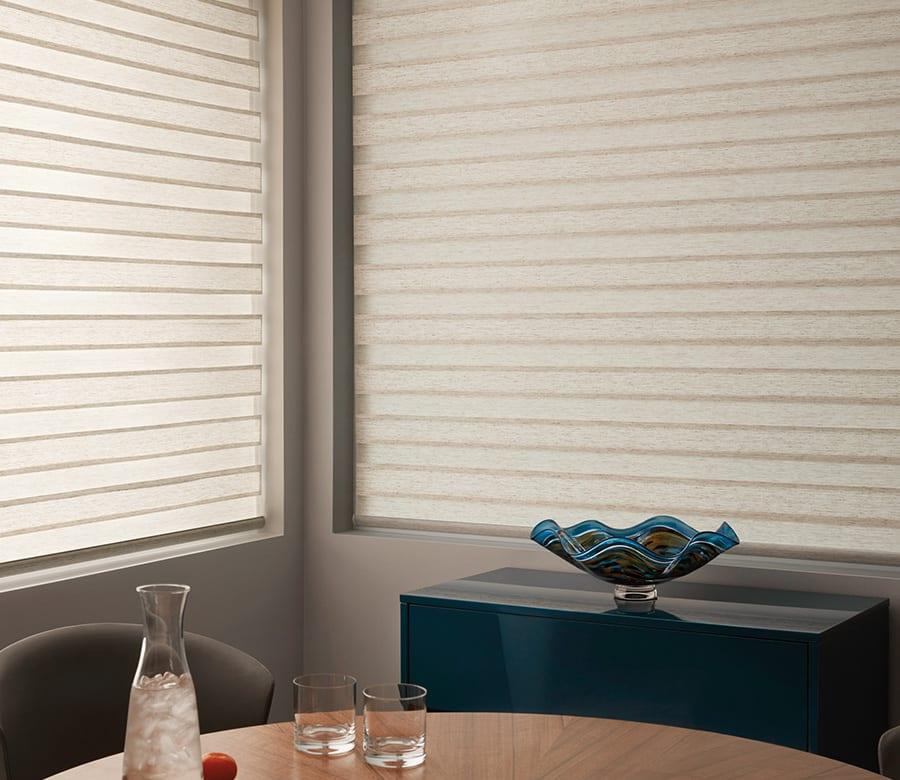 dining room room darkening banded roller shades houston tx