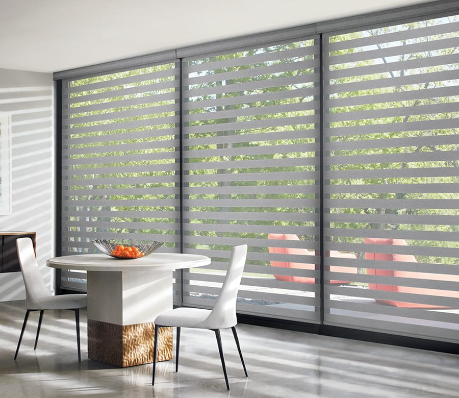 dining room floor to ceiling large window banded roller shades houston tx