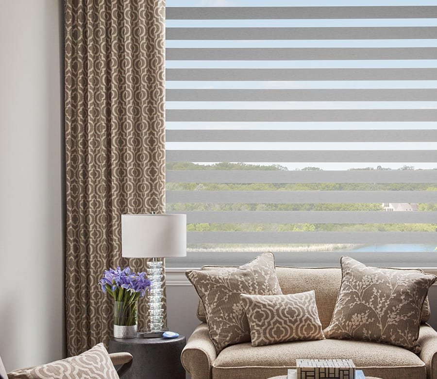 hunter douglas gray banded roller shades houston tx