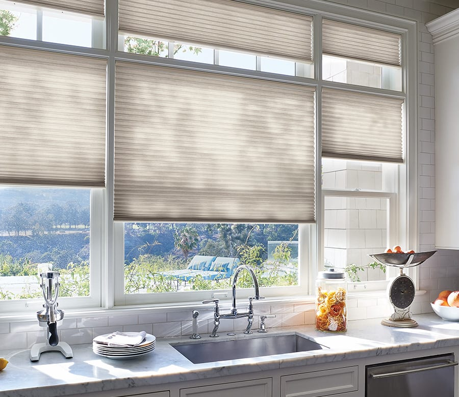 kitchen top down bottom up duette honeycomb shades houston TX