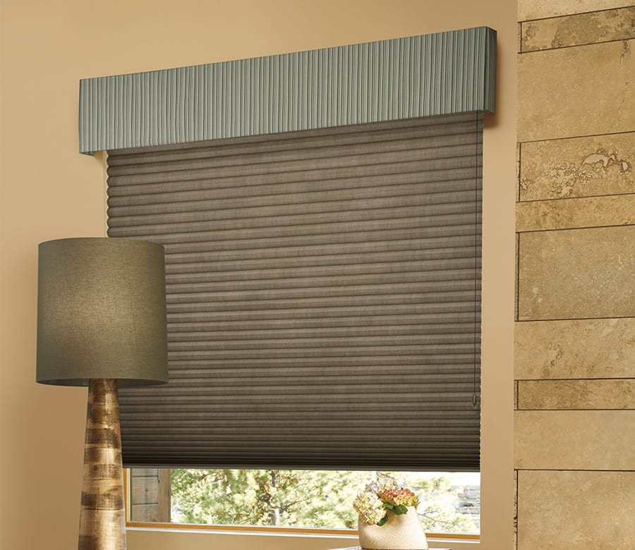 living room duette honeycomb shades with top treatment Houston TX