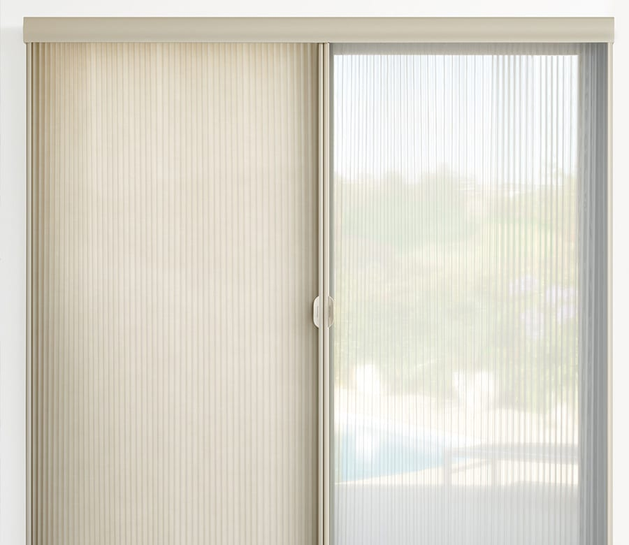 Hunter Douglas cream duette vertical shades Houston TX