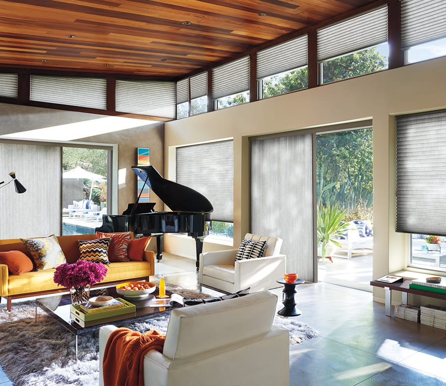 living room energy efficient duette vertical shades Houston TX