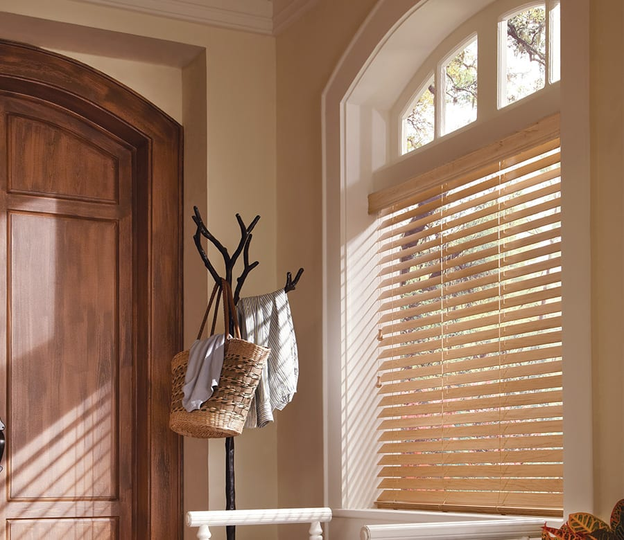 front entry light brown faux wood blinds Houston TX