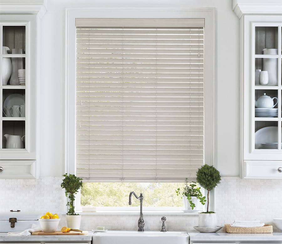 kitchen light gray faux wood blinds Houston TX
