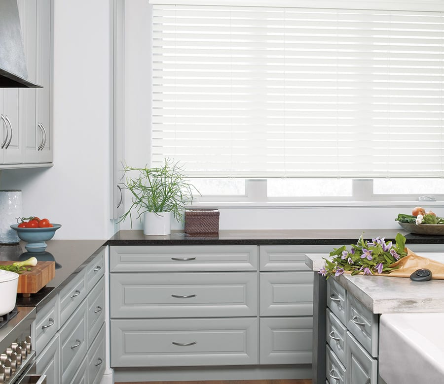 kitchen energy efficient faux wood blinds Houston TX