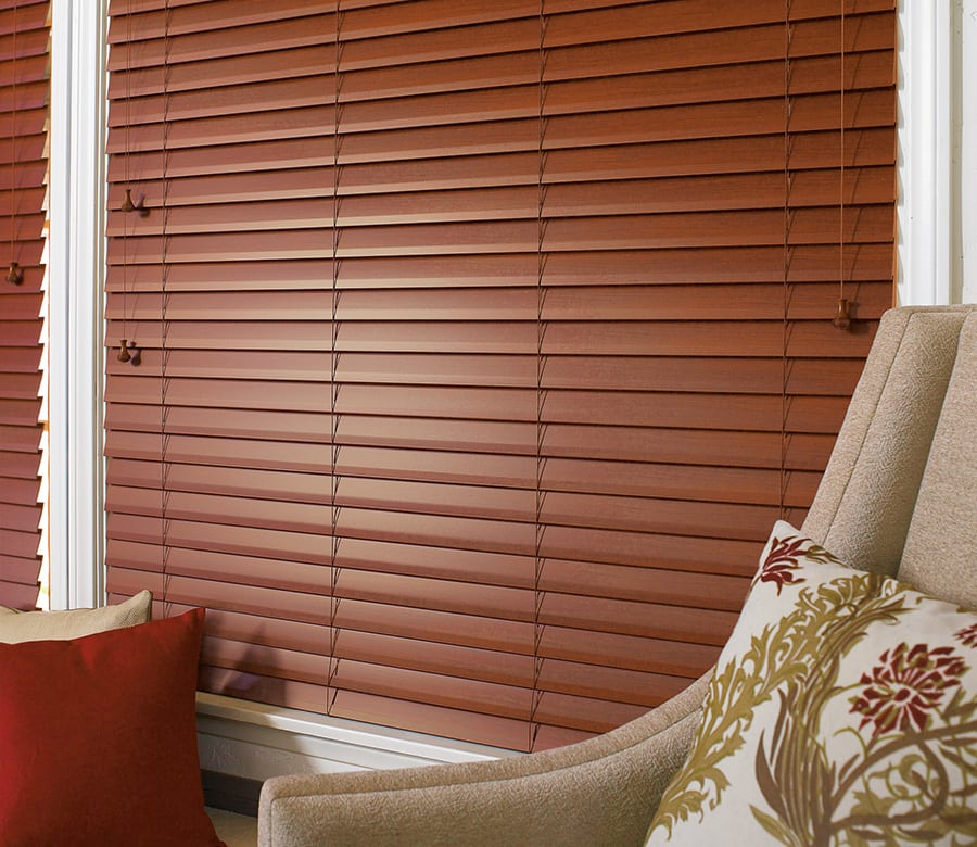 Hunter douglas brown faux wood blinds Houston TX