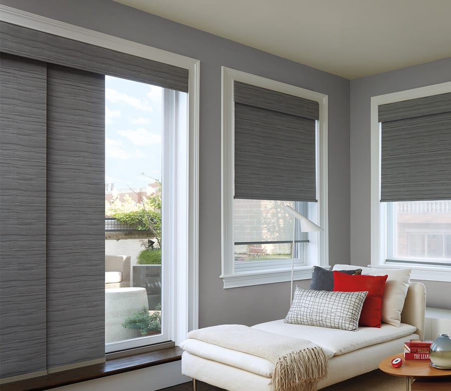sitting room gray sliding window panels Houston TX
