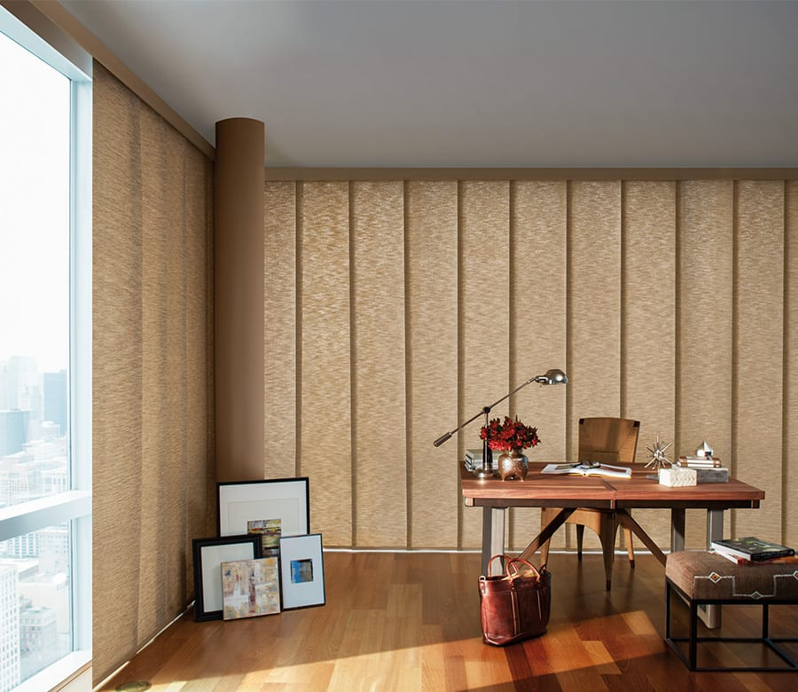 home office brown gliding window panels Houston TX