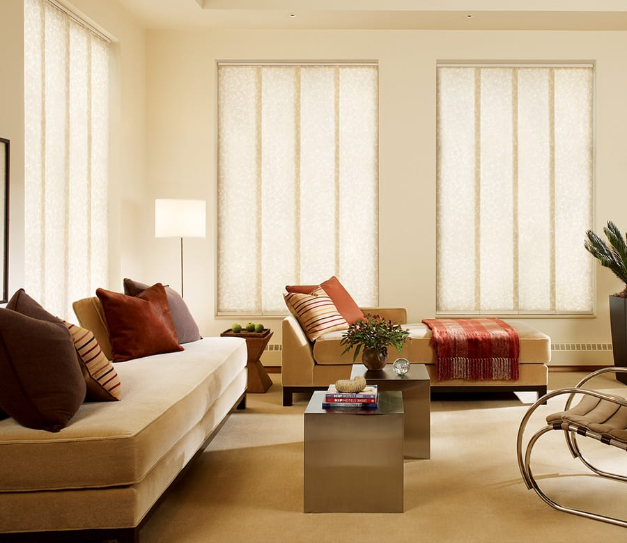 living room privacy gliding window panels Houston TX