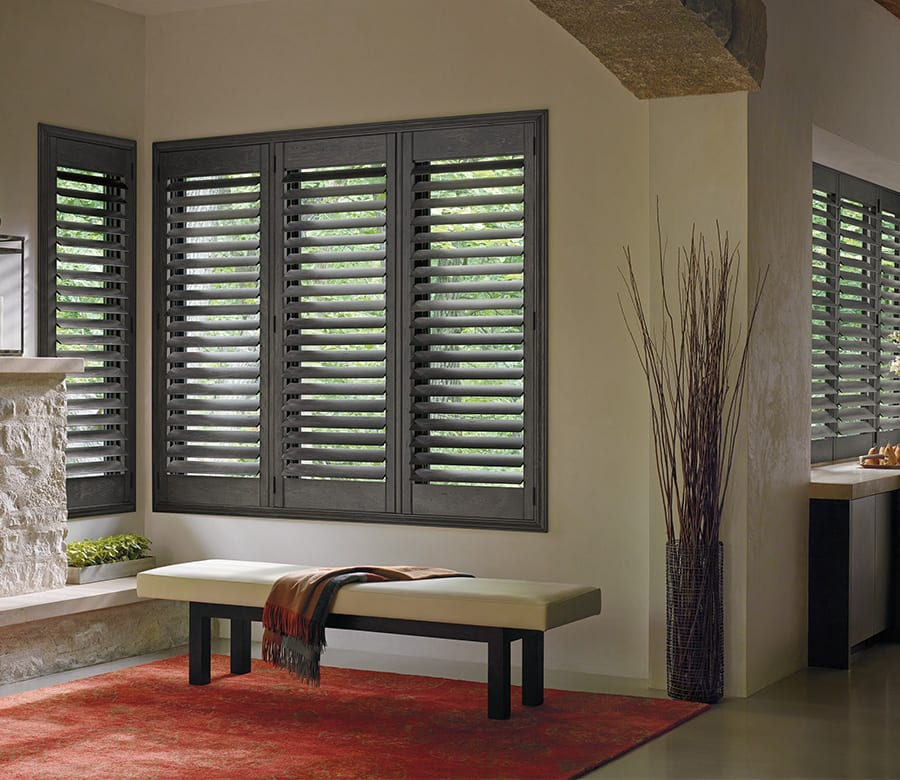 Hunter Douglas dark hardwood shutters Houston TX