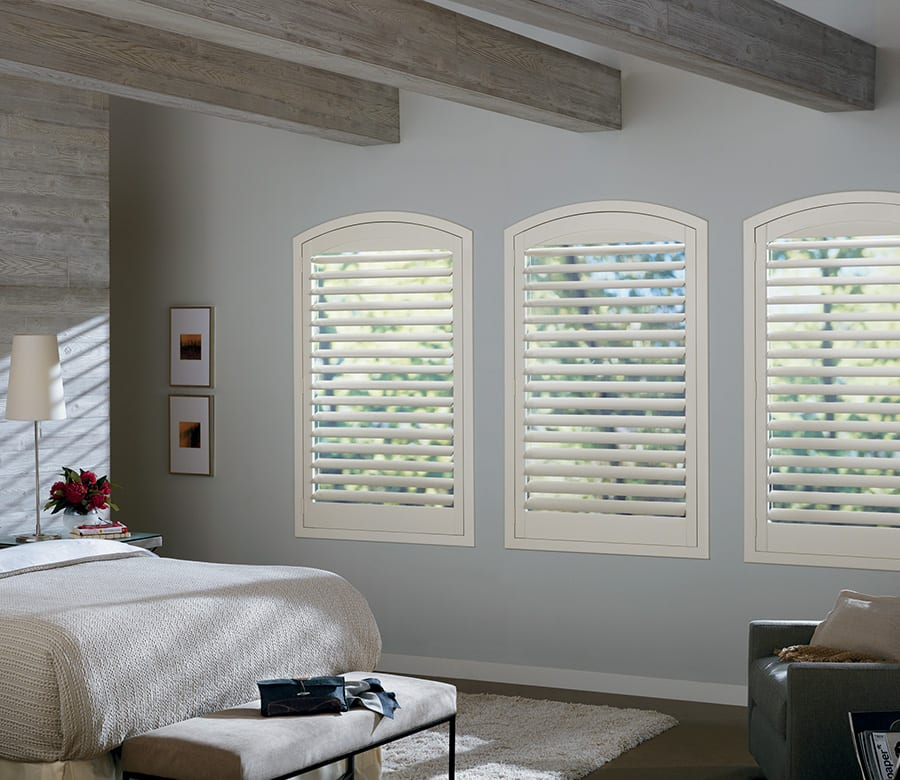 bedroom white hybrid shutters Houston TX