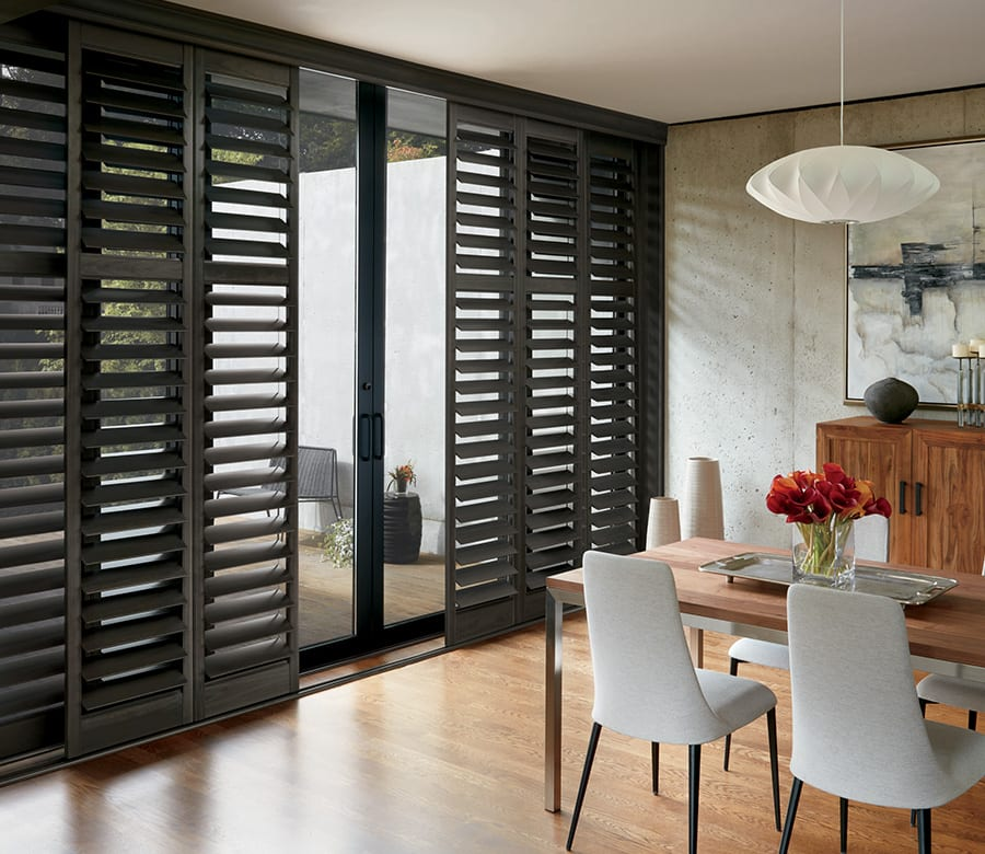 dining room black hybrid shutters Houston TX