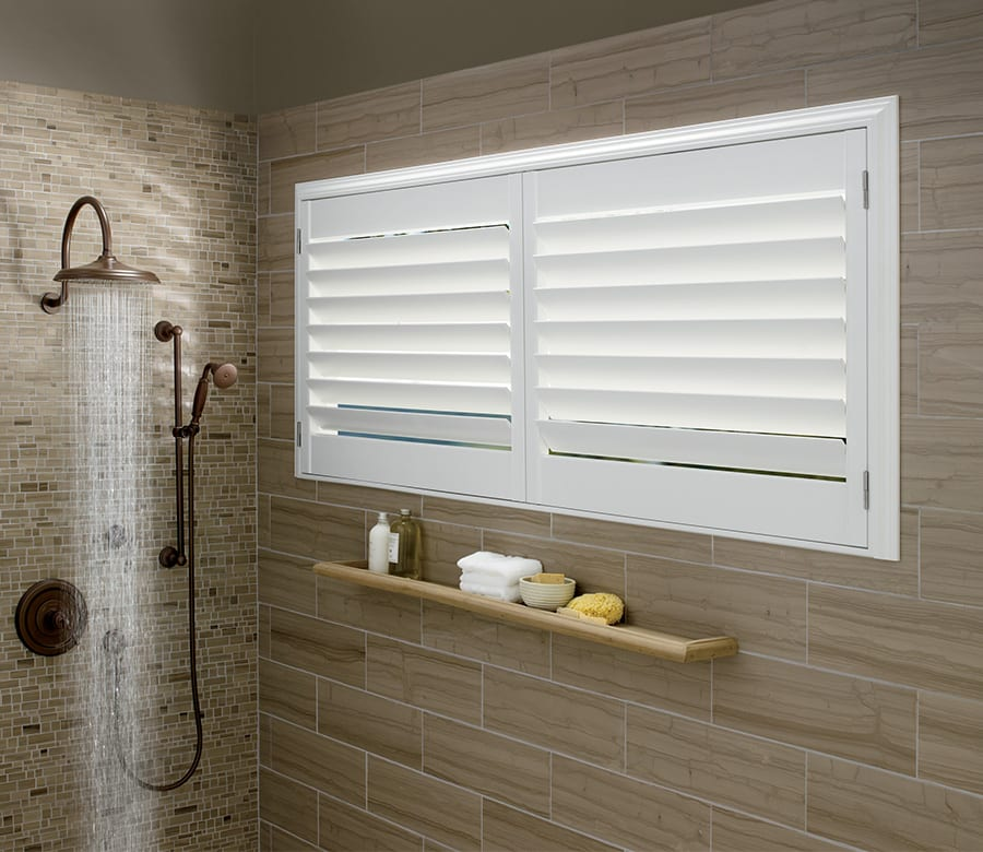bathroom privacy Hunter Douglas sliding doors wood shutters Houston TX