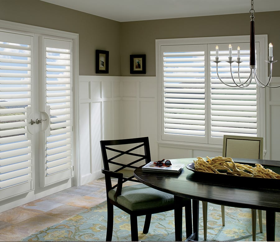 dining room patio door Hunter Douglas sliding doors wood shutters Houston TX
