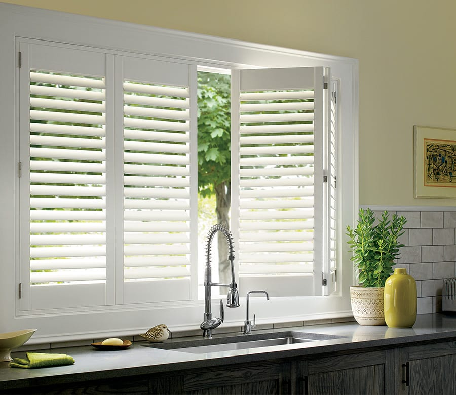 kitchen white Hunter Douglas sliding doors wood shutters Houston TX