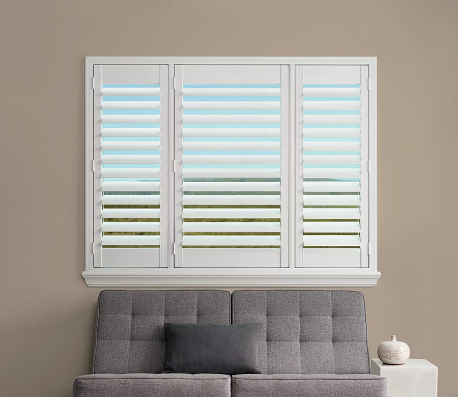 Hunter Douglas white wood shutters Houston TX