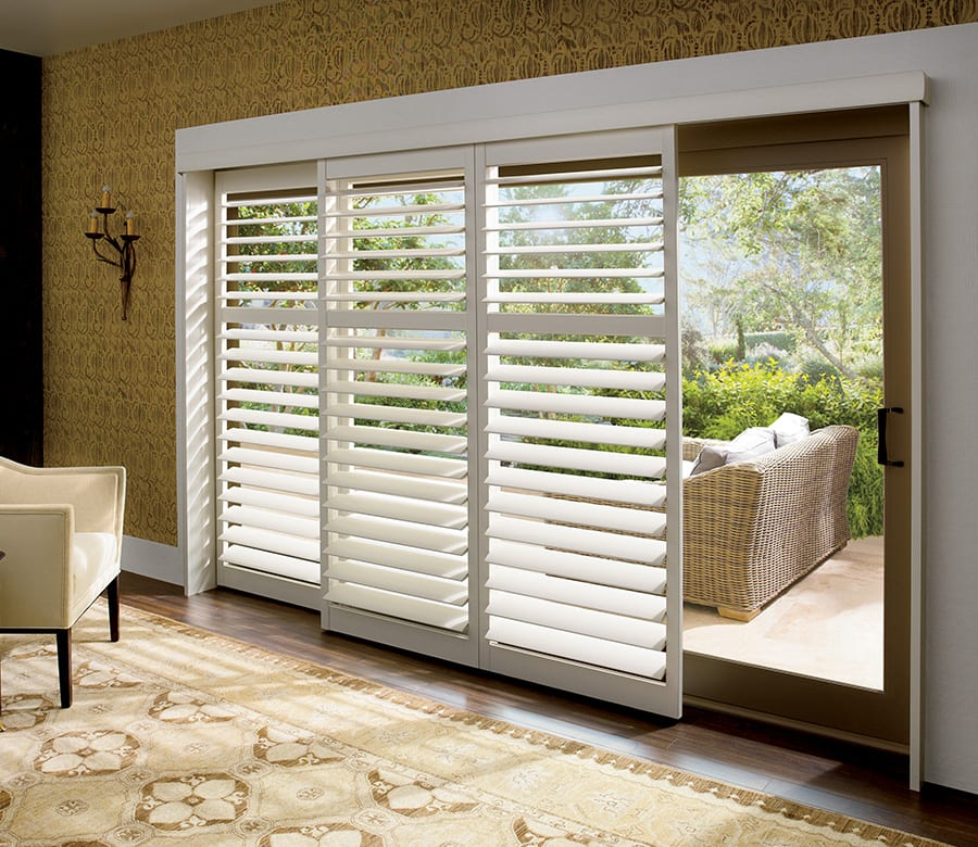 Hunter Douglas sliding doors wood shutters Houston TX