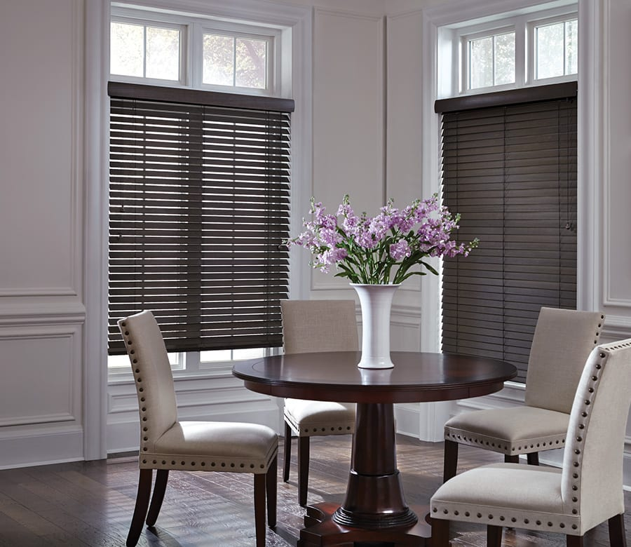 dining room dark brown wood blinds Houston TX