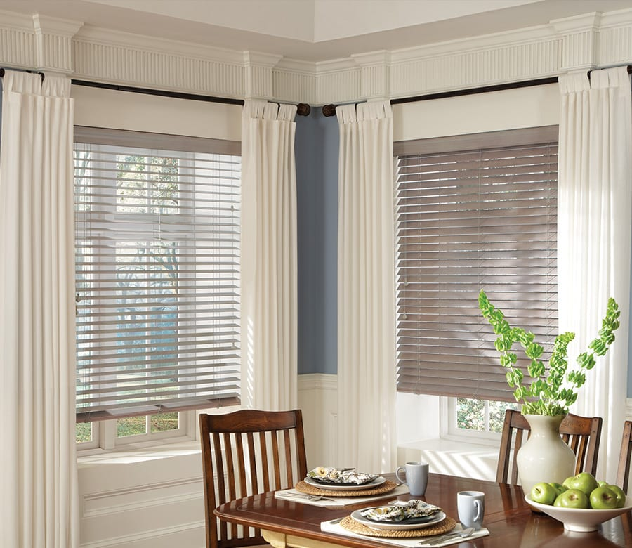 dining room distressed gray wood blinds Houston TX