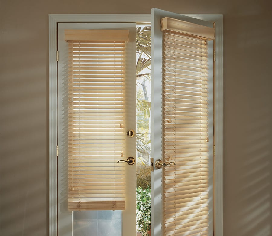 Hunter Douglas glass door wood blinds Houston TX