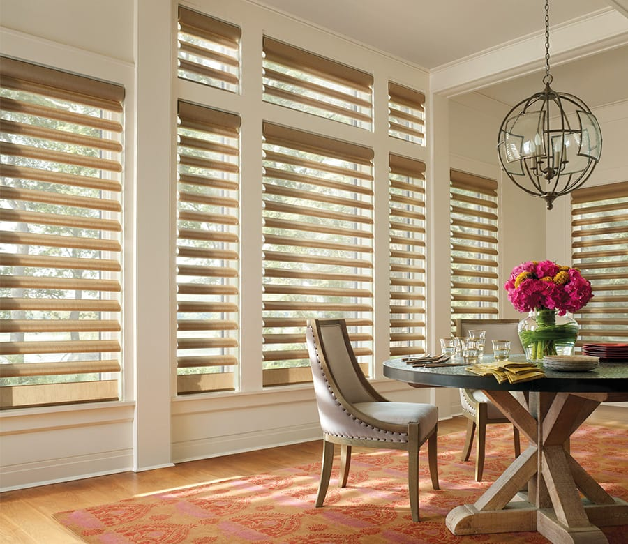 dining room large windows pirouette shades Houston TX