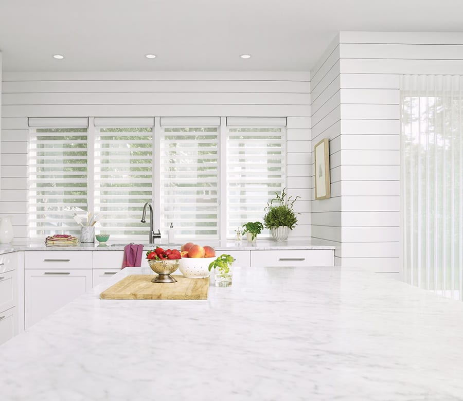 kitchen smart shades white pirouette shades Houston TX