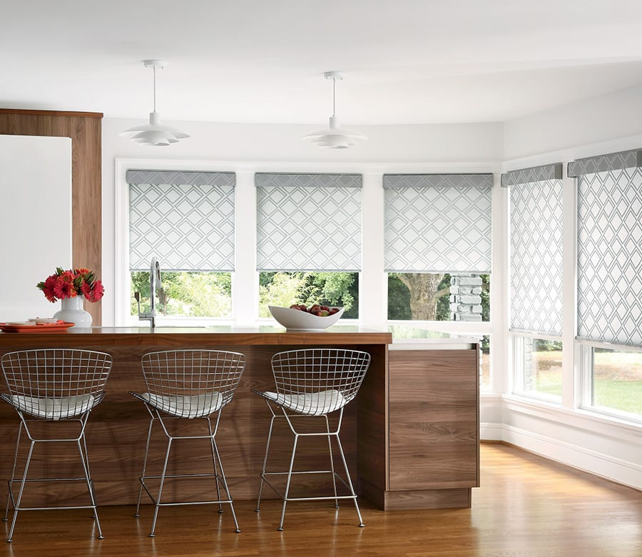 kitchen geometric pattern roller shades houston tx