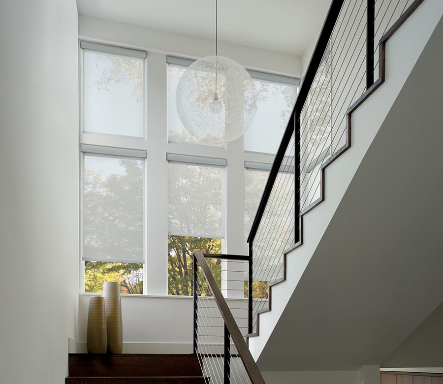 stair landing white roller shades houston tx