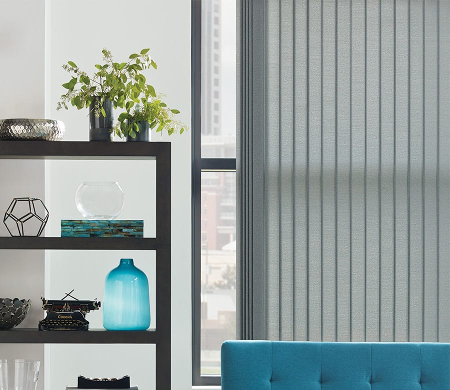 sitting area gray vertical blinds Houston TX