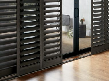 Hunter Douglas shutters for doors NewStyle hybrid shutters Houston TX