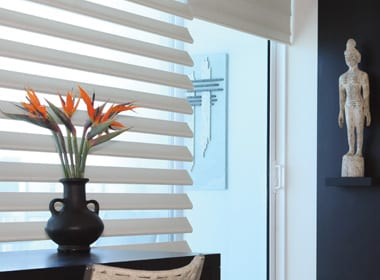 white pirouette window shades for light blocking and sheer performance in Rice Village TX