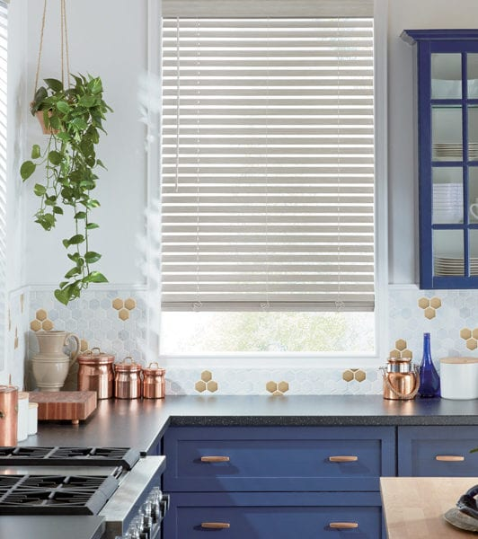 kitchen contemporary brass detail motorized smart blinds
