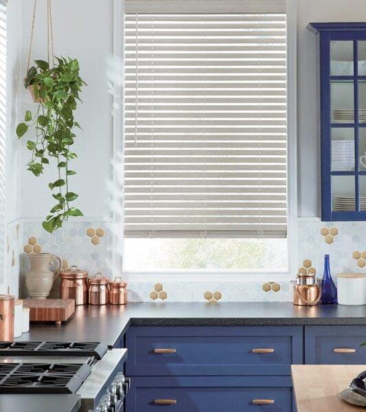 kitchen contemporary brass detail motorized smart blinds
